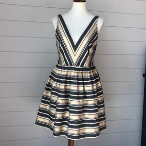 J. Crew Metallic stripe semi-formal dress